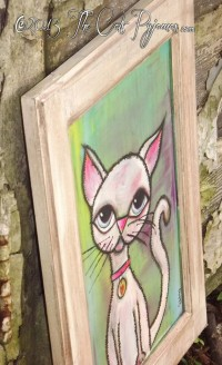 SOLD White Cat Painting